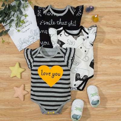 Baby Ruffle Armhole Printed Bodysuit Wholesale White 0-3 Months