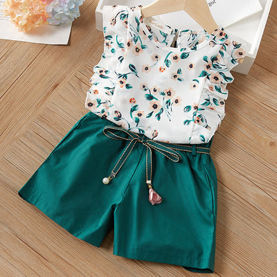 2-Piece Floral Ruffled Top and Solid Belted Shorts Wholesale children's clothing - Riolio