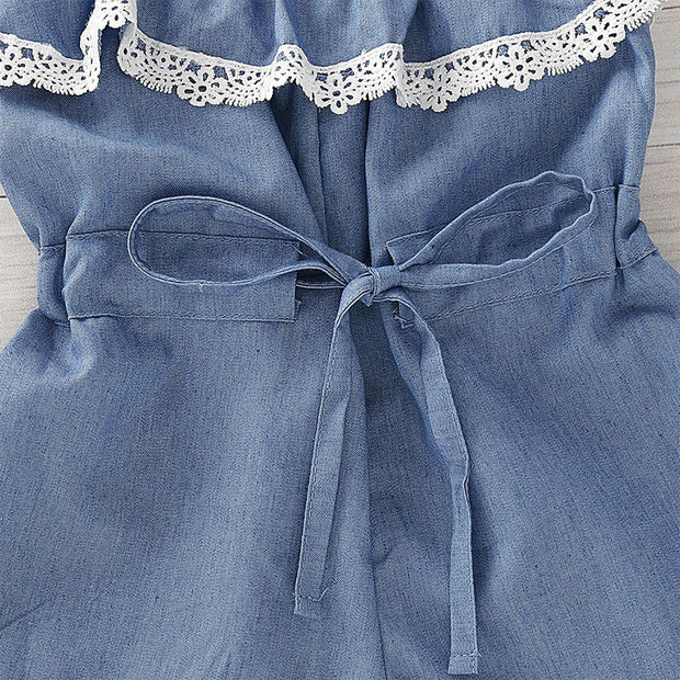 Toddler Girl Headband & Cami Overalls Wholesale Blue 4-5 Years