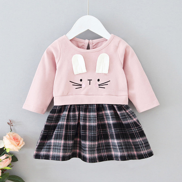 Wholesale Toddler Girl Easter Rabbit Plaid Dress- Riolio