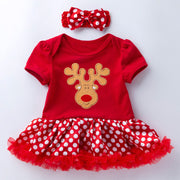 2-piece Cartoon Romper-skirt and Bow Headband Sets for Baby Girl Wholesale children's clothing - Riolio
