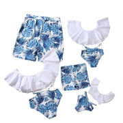 Whole Family Tropical leaf Swimsuits Wholesale White Mom: XL