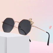 Girls Fashion Bow Metal Sunglasses Wholesale Color block Free size