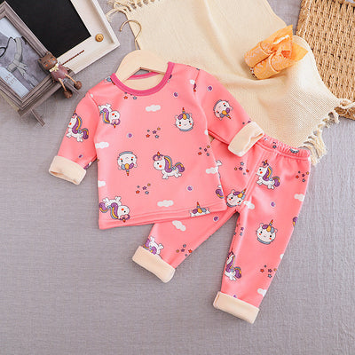 2-piece Fleece-lined Pajamas Sets for Toddler Girl Wholesale children's clothing - Riolio