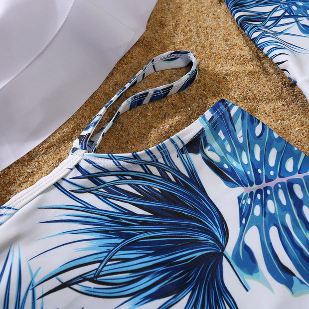 Whole Family Tropical leaf Swimsuits Wholesale White Boy: 6-7Y