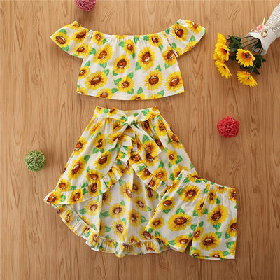 Toddler Girl Short Sunflower Top & Skirt & Shorts Wholesale Yellow 18-24 Months