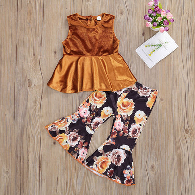 Sleeveless  Velvet Top and Floral Pants Set Wholesale children's clothing - Riolio