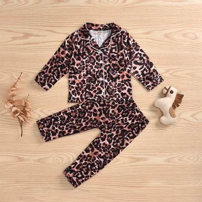 2-piece Leopard Pajamas Sets for Toddler Girl Wholesale children's clothing - Riolio