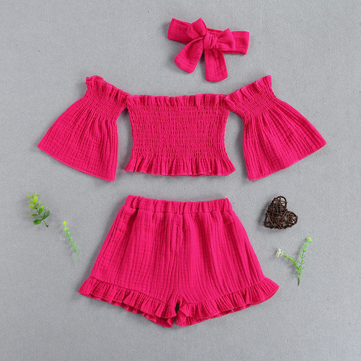 Toddler Girl Off-the-shoulder Flared Sleeves Top & Shorts & Headband Wholesale Red 5-6 Years