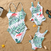 Whole Family Tropical leaf One Piece Swimsuits Wholesale Yellow Boy: 4-5Y