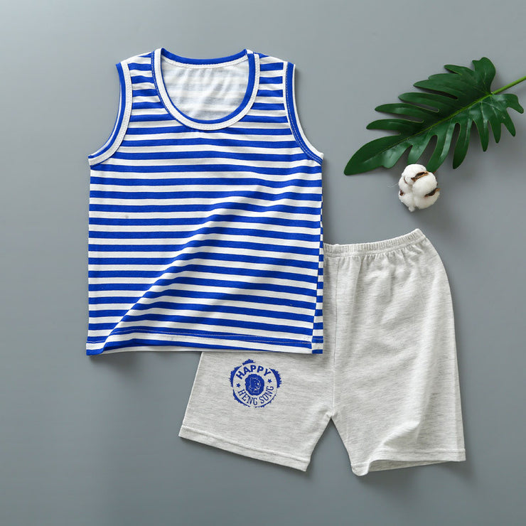 2-piece Striped Vest & Shorts for Toddler Boy Wholesale Children's Clothing - Riolio