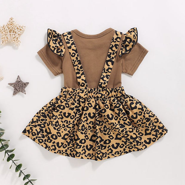 2-piece Letter Pattern Bodysuit & Braces Skirt for Baby Girl Clothing Wholesale - Riolio