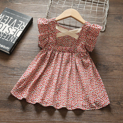 Toddler Girl Ruffle Sleeve Fruit Print Dress Wholesale Burgundy 12-18 Months