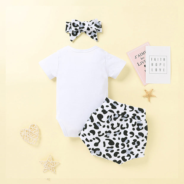 Baby Girl Romper & Leopard Print Shorts & Bowknot Headband Wholesale White 3-6 Months