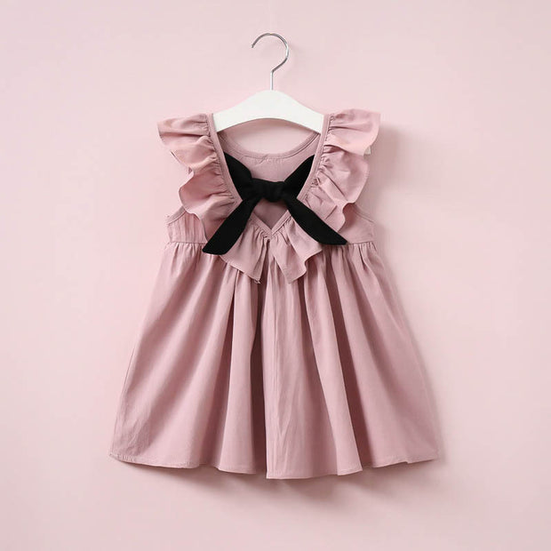 Solid Bow Decor Ruffle Pleated Dress for Toddler Girl Wholesale children's clothing - Riolio