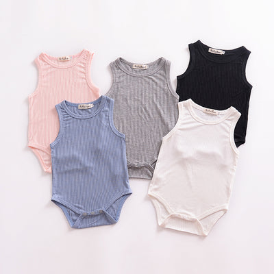 Solid Sleeveless Knitted Bodysuit Wholesale children's clothing - Riolio