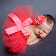 2-Piece Solid Bow Decor Tutu Skirt and Headband Wholesale children's clothing - Riolio