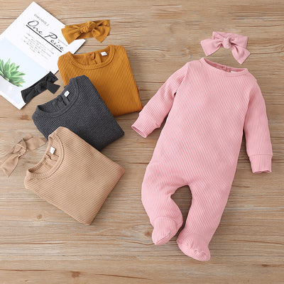 Baby Solid Footed Long-sleeve Jumpsuit Wholesale children's clothing - Riolio