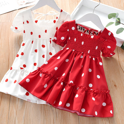 Toddler Girl Polka Dot Dress Wholesale White 18-24 Months