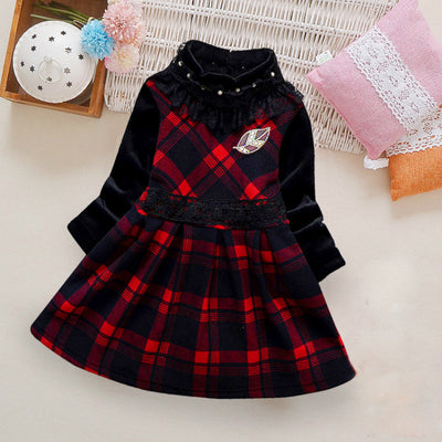 Color-block Plaid Dress for Toddler Girl Wholesale children's clothing - Riolio