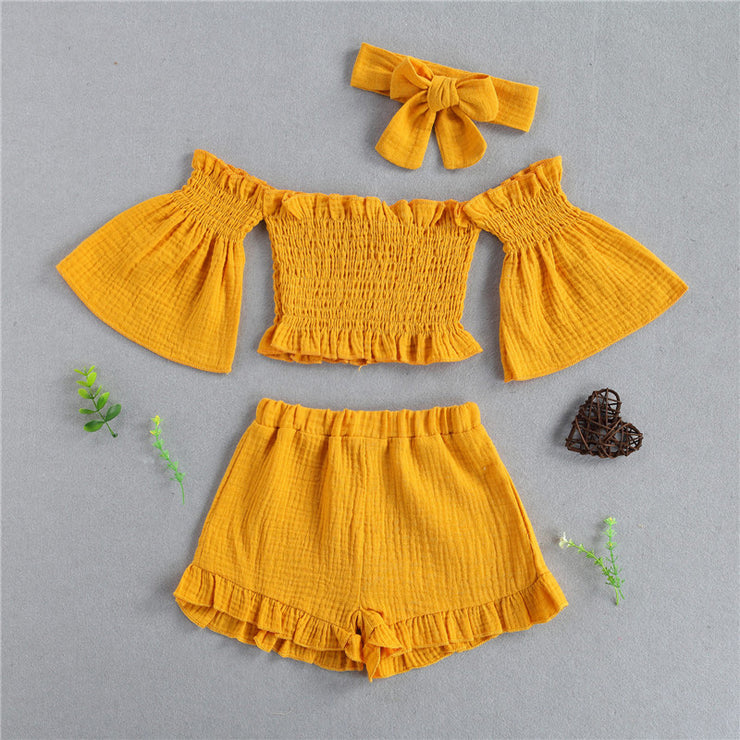 Toddler Girl Off-the-shoulder Flared Sleeves Top & Shorts & Headband Wholesale Yellow 5-6 Years