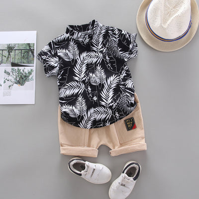 2-piece Feather Pattern T-shirt & Shorts for Toddler Boy Wholesale children's clothing - Riolio