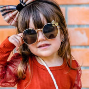 Girls Fashion Bow Metal Sunglasses Wholesale Dark Pink Free size