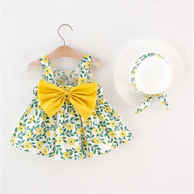 Toddler Girl Floral Pattern Casual Style Cotton Summer Dress & Hat Wholesale Children's Clothing Yellow 9-12 Months