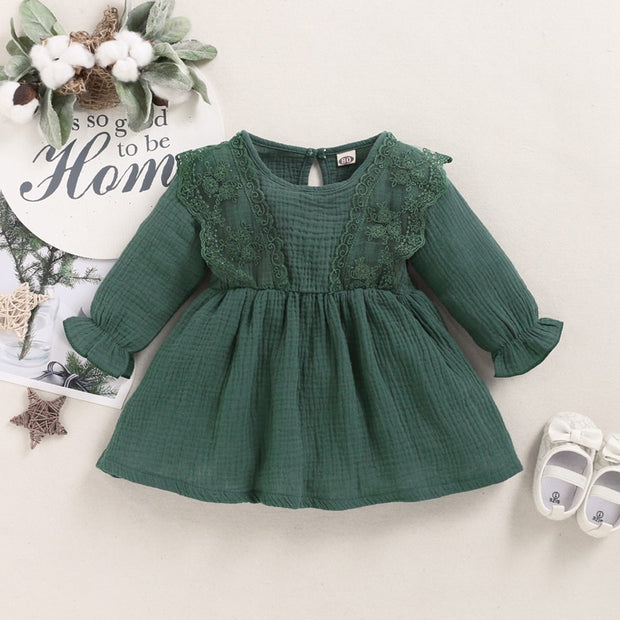 Solid Ruffle Dress for Toddler Girl Wholesale children's clothing - Riolio