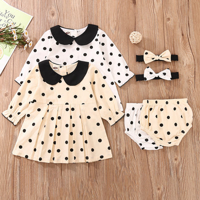 3-piece Polka Dot Dress & Shorts & Headband for Baby Girl Wholesale children's clothing - Riolio