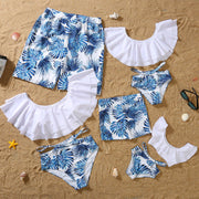 Whole Family Tropical leaf Swimsuits Wholesale White Boy: 2-3Y