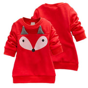 Fox Pattern Fleece-lined Suit for Toddler Girl Wholesale children's clothing - Riolio
