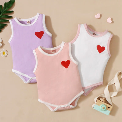 Baby Girl Heart-shaped  Pattern Summer Bodysuit Wholesale Children's Clothing White 0-3 Months