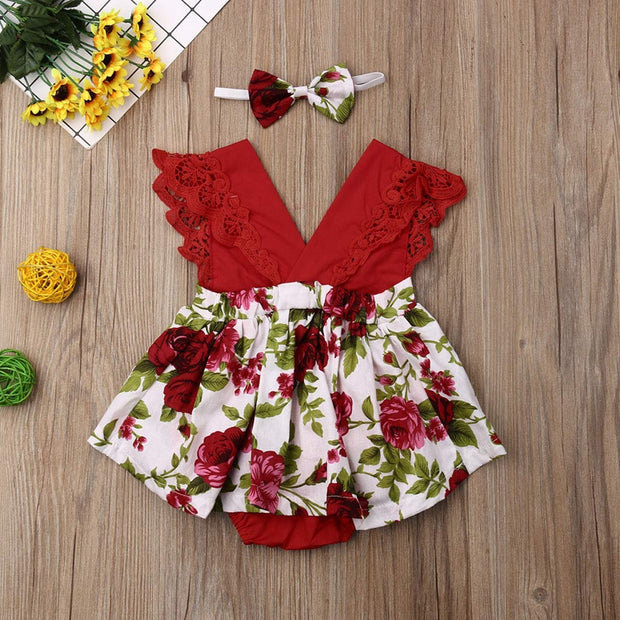 2-piece Ruffle Floral Printed Bodysuit & Headwear for Baby Girl Wholesale children's clothing - Riolio