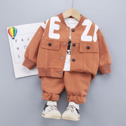 Toddler Boy Set Letter Printing Coat & Sweatshirt & Pants Wholesale Children's Clothing - Riolio