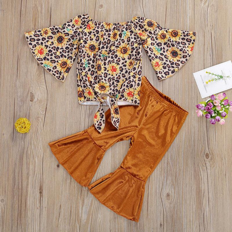Fashion Leopard Ruffled Top and Pants Set Wholesale children's clothing - Riolio