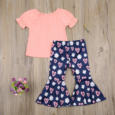 Toddler Girl 2pcs T-shirt & Heart-shaped Pattern Bell-bottomed Pants Wholesale Children's Clothing Pink 9-12 Months