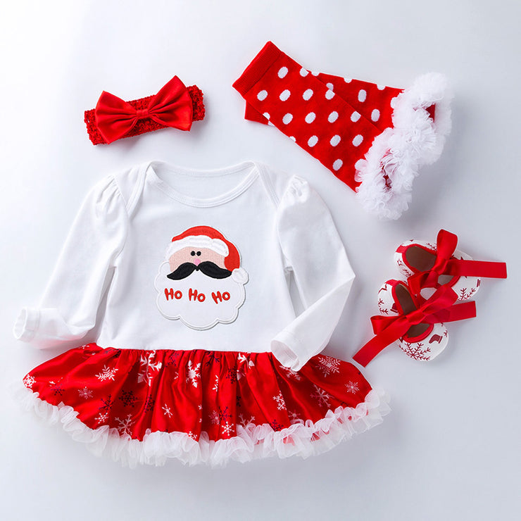 4-piece Cartoon Romper-skirt and Shoes and Bow Headband and Leggings Sets for Baby Girl Wholesale children's clothing - Riolio