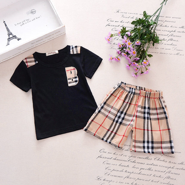 Classic Plaid Letter Short-sleeve Tee and Shorts Set Children's clothing wholesale - Riolio