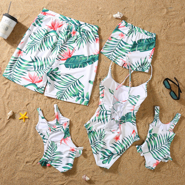 Whole Family Tropical leaf One Piece Swimsuits Wholesale Yellow Boy: 3-4Y