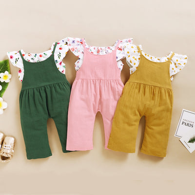 2-piece Floral Printed Blouse & Dungarees for Toddler Girl Wholesale children's clothing - Riolio