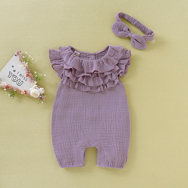Cozy Solid Ruffled Jumpsuit with Headband for Baby Girls - Riolio