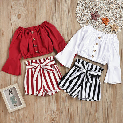 2-piece Long Sleeve T-shirt & Striped Shorts for Toddler Girl Wholesale White 18-24 Months