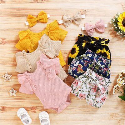 3-piece Solid Ruffle Bodysuit & Floral Printed Shorts & Headband for Baby Clothing Wholesale - Riolio