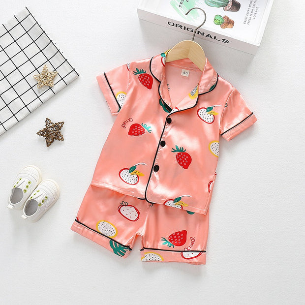 Toddler Girl 2pcs Fruit Pattern Summer Pajamas Sets Wholesale Children's Clothing Pink 12-18 Months