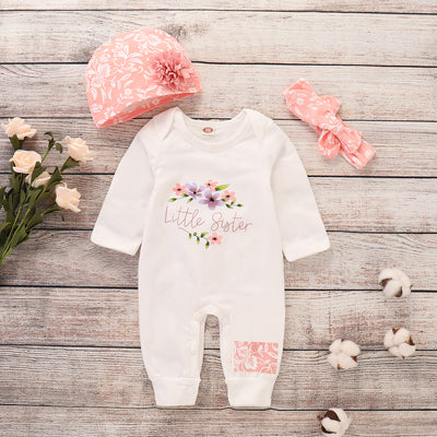 3-piece Floral Printed Jumpsuit with Headband & Hat for Baby Girl Children's clothing wholesale - Riolio