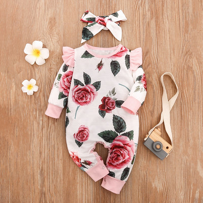 2-piece Floral Printed Jumpsuit & Headband for Baby Girl Wholesale children's clothing - Riolio
