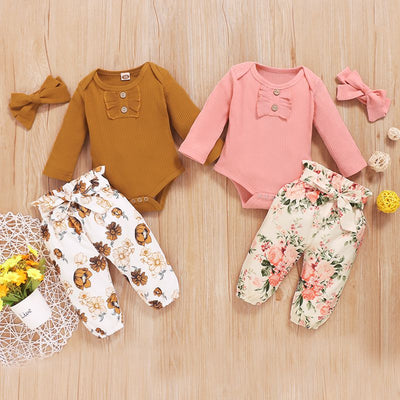 3-piece Cotton Bodysuit, Floral Pants with Headband Wholesale children's clothing - Riolio