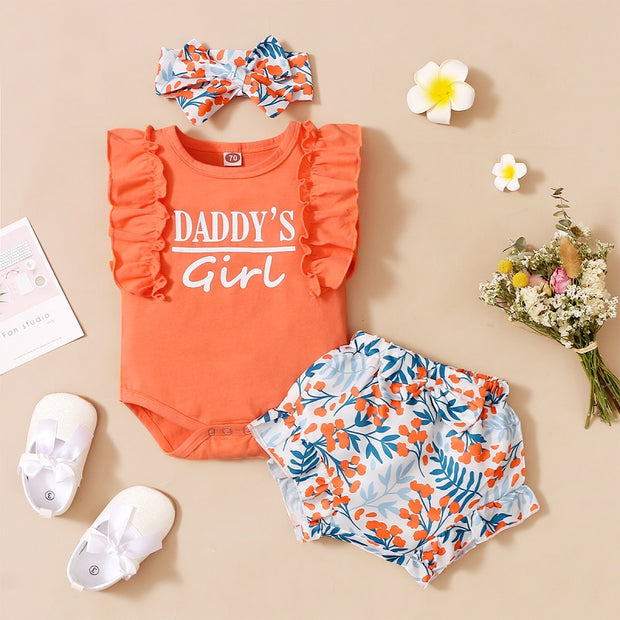 Baby Girl Ruffle Romper & Floral Print Shorts & Bowknot Headband Wholesale Orange 9-12 Months
