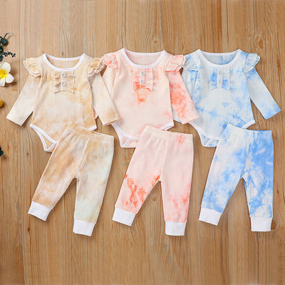2-piece Tie Dye Bodysuit & Pants for Baby Girl Wholesale children's clothing - Riolio